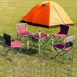5 Pcs Giantex Portable Outdoor Folding Table and Chairs Set