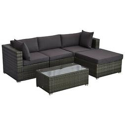 Outsunny 5-Piece Outdoor Patio Rattan Furniture Set w/ Ottom