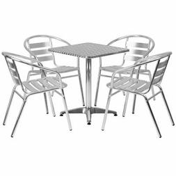 Bowery Hill 5 Piece Square Patio Bistro Set in Aluminum
