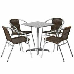 Bowery Hill 5 Piece Square Patio Bistro Set in Aluminum and
