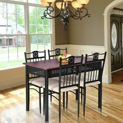 5 Piece Wood Dining Set Metal Table And 4 Chairs With Cushio