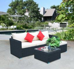 5 Pieces PE Rattan Wicker Sofa Table Set Patio Furniture Sec