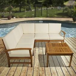 Outsunny 6 Piece Acacia Wood Outdoor Patio Conversation Chat