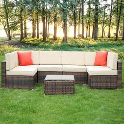 6 Seaters Rattan Garden Furniture Set Patio Lounge Sofa Stoo