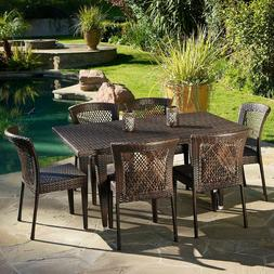 7 pc Patio Dining Set Brown Wicker Rectangle Iron Contempora