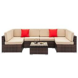 7 Pcs Outdoor Patio Furniture Sectionals Wicker Rattan Sofa
