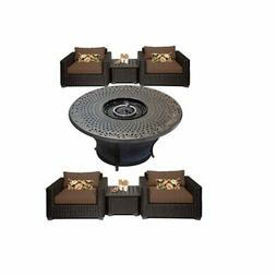 """7 Piece Patio Furniture Set with 48"""" Round Fire Pit Table an"""