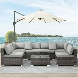 7 Pieces Outdoor Patio Furniture Rattan Wicker Sectional Sof