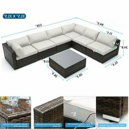 7PC Outdoor Rattan Wicker Sofa Set Sectional Couch Cushioned