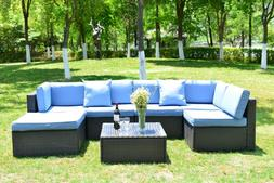 Outdoor 7 Pcs Patio Wicker Rattan Sofa Sectional Set Cushion