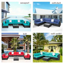 7PCS Outdoor Rattan Wicker Sofa Set Sectional Cushioned Couc