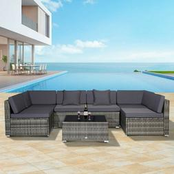 7PCS Patio Furniture Couch Wicker Rattan /w Cushions Sofa Se