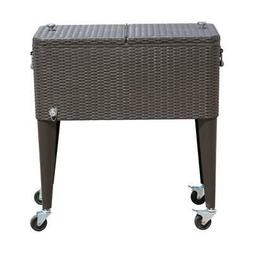 80 QT Rolling Ice Chest Portable Patio Party Drink Cooler Ca