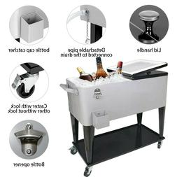 80Qt Rolling Cooler Cart Ice Chest for Outdoor Patio Deck Pa