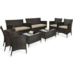 8PCS Rattan Patio Furniture Set Cushioned Sofa Outdoor Coffe