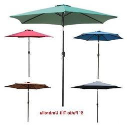 9' FT Patio Umbrella Outdoor Market Umbrella Steel Tilt With