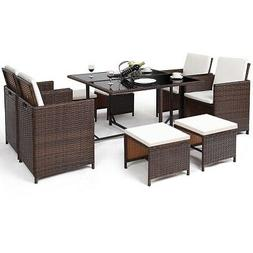 9 PCS Outdoor Patio Dining Set with Cushioned Cover