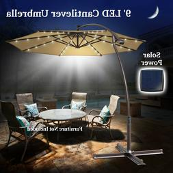 9ft Cantilever Solar 40LED Patio Hanging Umbrella Outdoor Su