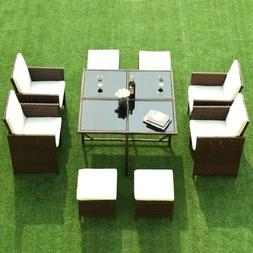 Dining Table Ottomans Chairs w/ Cushioned Cover Outdoor Pati