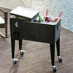 Outsunny 80 Quart Stainless Steel Outdoor Patio Rolling Cool