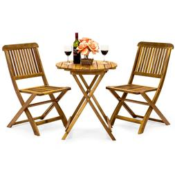 Best Choice Products Acacia Wood 3-Piece Folding Outdoor Com