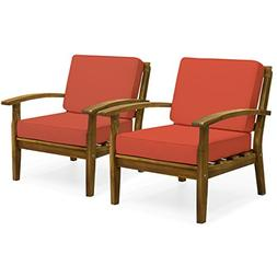 Best Choice Products Set of 2 Outdoor Acacia Wood Club Chair