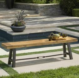 Acacia Wood Rustic Bench Outdoor Garden Patio Teak Finish Ya