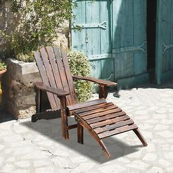 Adirondack Outdoor Patio Deck Wood Lounge Chair Seat w/ Otto
