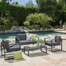 Aluminum Outdoor Furniture Black Grey Conversation Set Patio