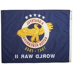 Annin NYL-GLO WWII Commemorative Flag 3 by 4 Foot