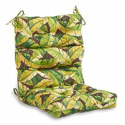 Outdoor High Back Chair Cushion, Palm Leaves Green