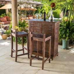 Bar Height Patio Set 3 Piece Outdoor Acacia Wood Backyard Ne