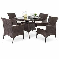 BCP 5-Piece Wicker Patio Dining Table Set w/ 4 Chairs