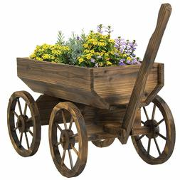 Best Choice Products Patio Garden Wooden Wagon Backyard Grow