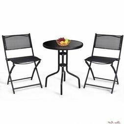 Bistro Table Set Patio Foldable Chairs Storage Sturdy Durabl
