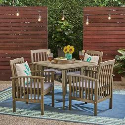 "Casa Outdoor 4-Seater 36"" Square Acacia Patio Dining Set gra"