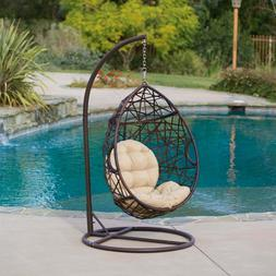 Cayuse Outdoor Wicker Tear Drop Hanging Chair - Patio Furnit