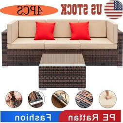Comfortable Rattan Wicker Sofa Set Sectional Couch Cushioned