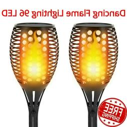 Dancing Flame Solar Torch Lights Waterproof Wireless 96 LED