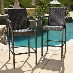 Christopher Knight Home Delfina Outdoor Wicker Barstool (Set