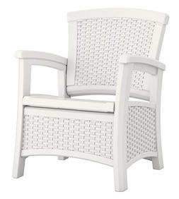 Suncast ELEMENTS Club Chair with Storage, White
