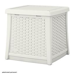 Suncast Elements Resin Patio Storage Side Table, White