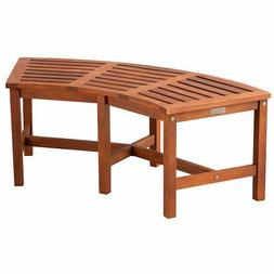 """Eucalyptus Solid Wood Fire Pit Curved Bench 44"""" Outdoor Gard"""