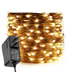 Fairy Lights Plug In, 99Ft/30M 300 LED Silver Coated Copper