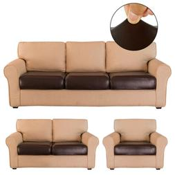 Faux Leather Stretchy Sofa Seat Cushion Cover Chair Couch Lo