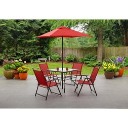 Mainstays 6-Piece Folding Red Dining Porch Outdoor Set Table
