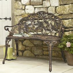 Patio Bench Antique Floral Rose Accented Metal Garden Finish