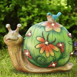 Garden Statue Snail Figurine Yard Lawn Patio Decor Solar Pow