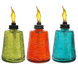 Tiki 1116040 Molded Glass Table Torch ,6-Inch , Red, Green,