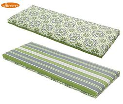 Bossima Indoor/Outdoor Green/Grey Damask/Striped Bench Cushi